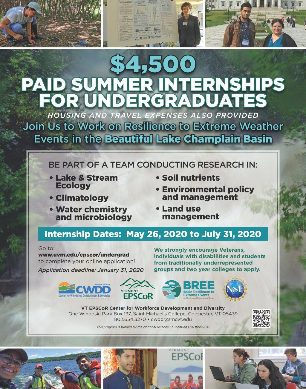Travel Internships Summer 2020.About Bree Undergraduate Internships Vermont Epscor