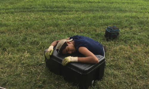 Undergraduate interns Kunal Palawat, tired out after a hard day's work.